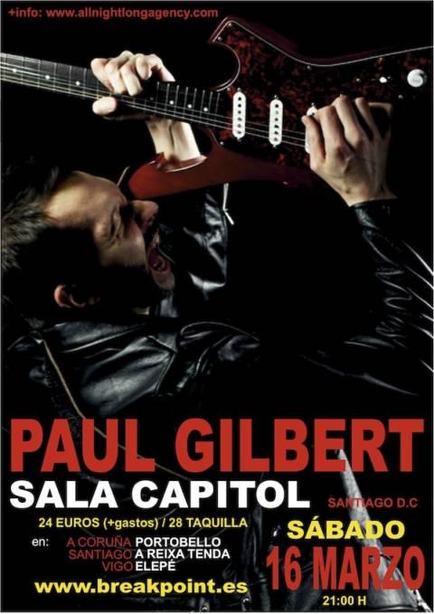 Cartel del concierto de Paul Gilbert en la Sala Capitol – Santiago