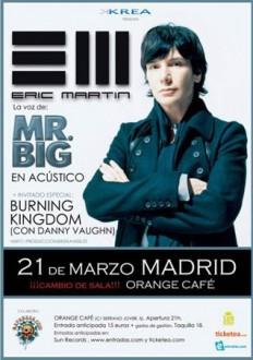 Cartel del concierto de Eric Martin en Madrid