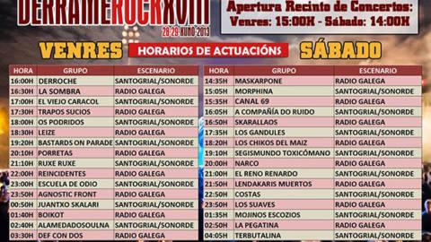 Horarios Derrame Rock 2013