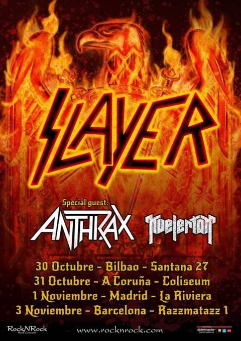 Slayer y Anthrax estarán en Bilbao, A Coruña, Madrid y Barcelona