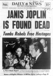 Portada Daily News 1970 muere Janis Joplin