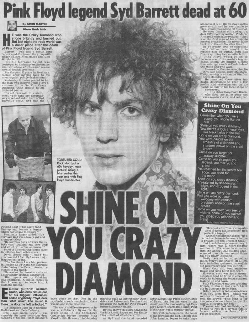 Noticia Daily Mirror muerte Syd Barret