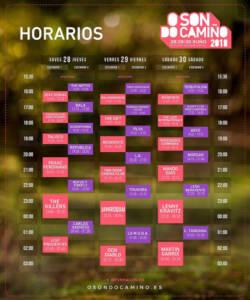 Horarios Festival O Son do Camiño