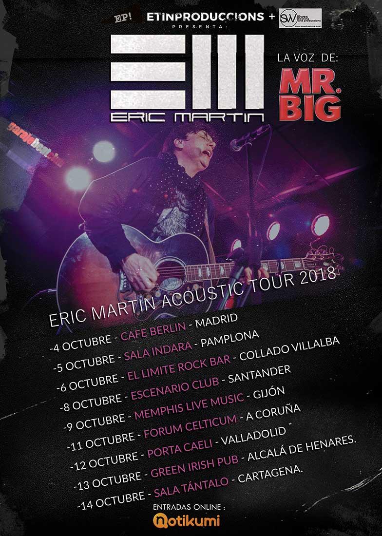 cartel Conciertos Eric Martin 2018
