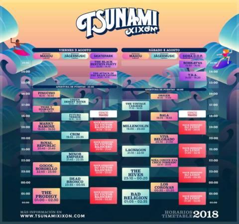 Horarios del Tsunami Xixón 2018