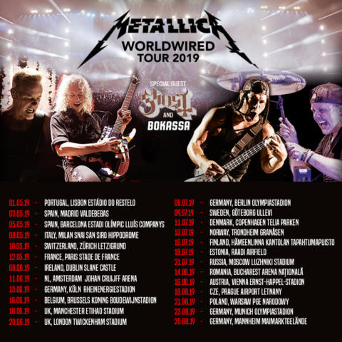 Europa podrá ver a Metallica a lo largo de 2019