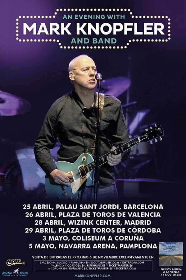 cartel conciertos mark knopfler España 2019