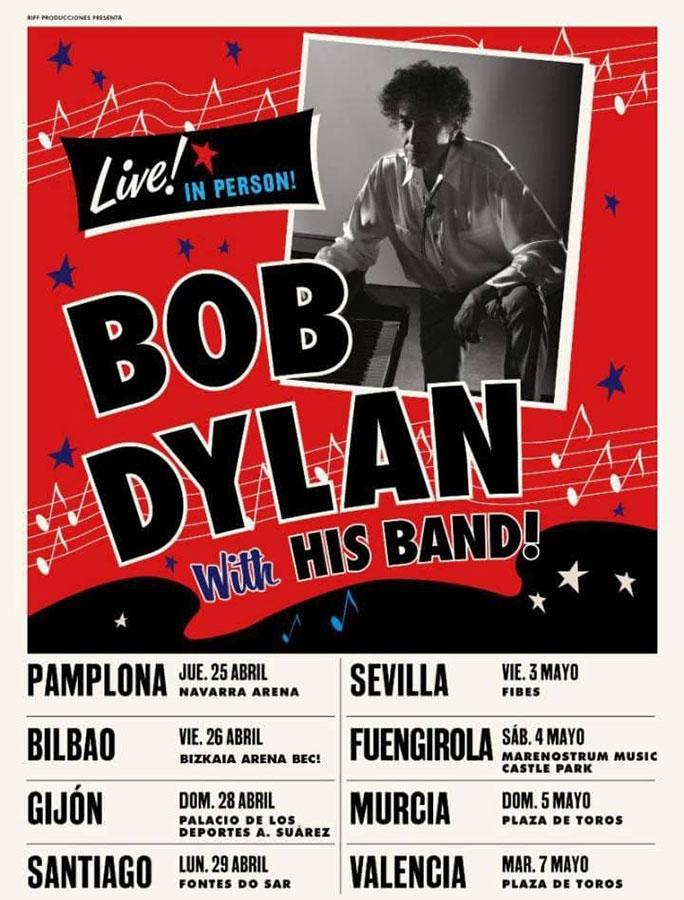 Cartel Conciertos Bob Dylan España 2019