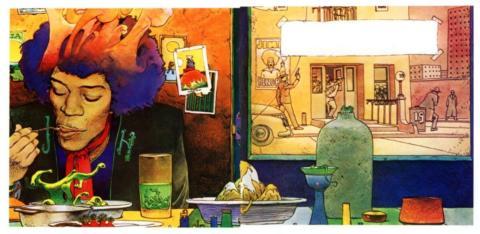Feasting On Voodoo Soup: Ilustraciones psicodélicas de Moebius sobre Jimi Hendrix