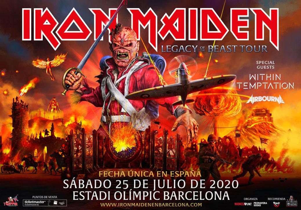 Cartel Concierto Iron Maiden en Barcelona 2020